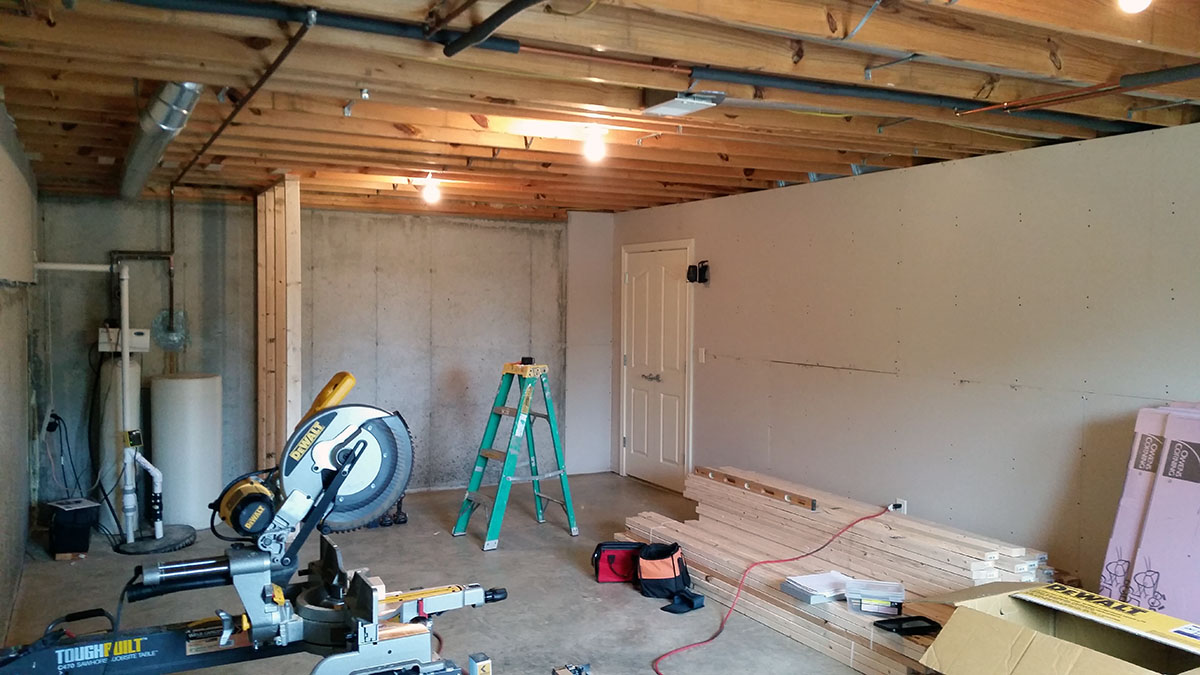 Renovation Remodel Finished Basement Georgetown Indiana Wiring Framing The Walls In
